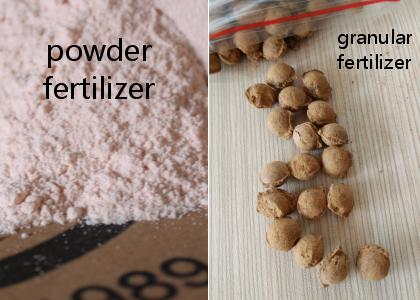 comparision between powder fertilizer and granular fertilizer